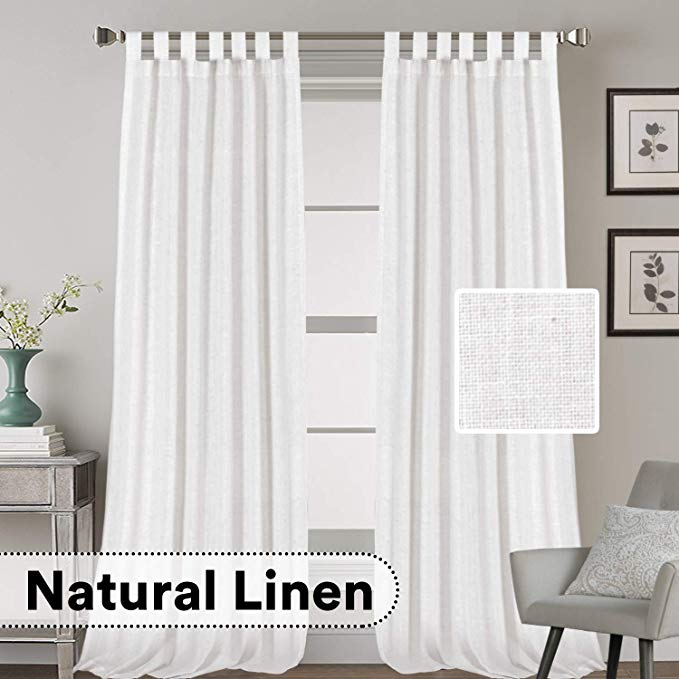 Amazon Com H Versailtex Natural Effect Extra Long Curtains Made Of Linen Mixed Rich Material Tab Top Curtains P Curtains Tab Top Curtains Extra Long Curtains