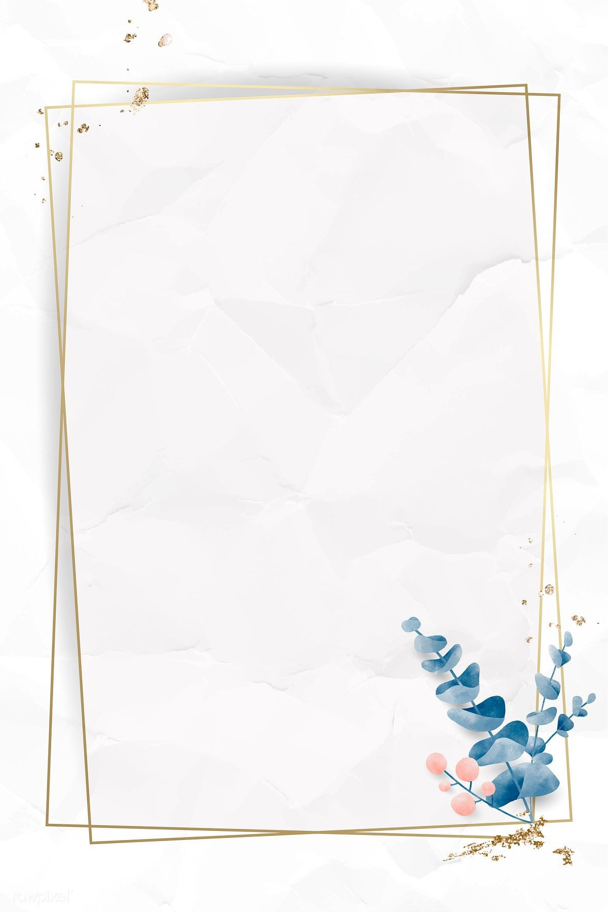 Download Premium Vector Of Leafy Golden Rectangle Frame Vector 1216958 Love Wallpaper Backgrounds Flower Graphic Design Flower Background Wallpaper