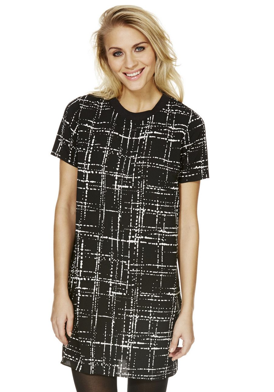 Clothing at Tesco | F&F Petite Dot Dash Print Tipped Tunic > dresses > Petite > Women