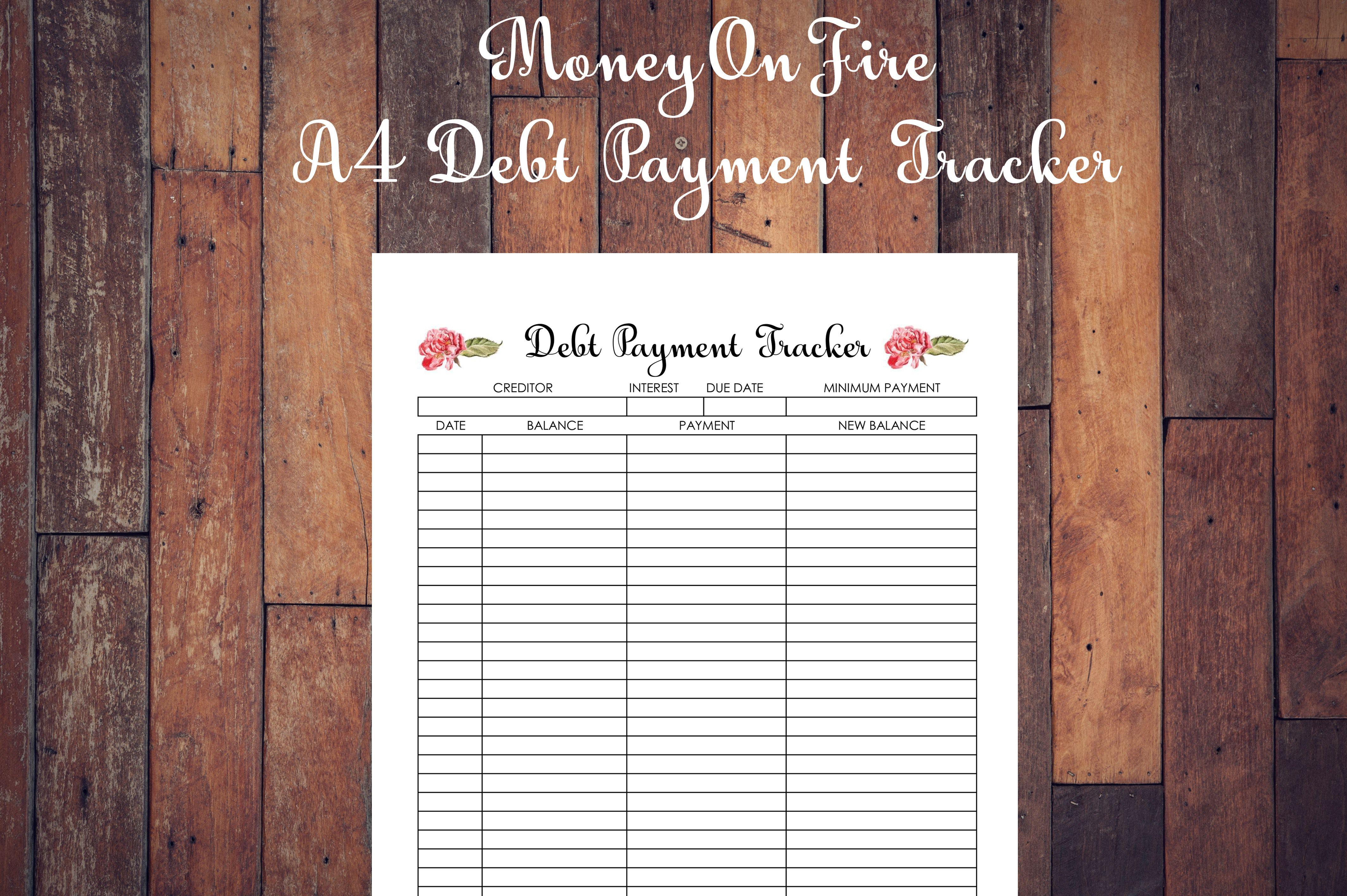 Debt Payment Tracker Printable Etsyshop Etsyfinds