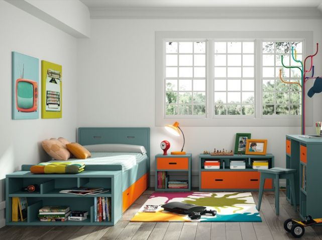 Chambre garcon bleu orange mathy by bols chambres d for Decoration chambre mansardee garcon