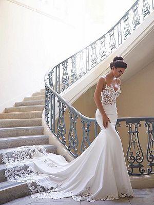 Schlichte Brautkleider Mit Spitze | Hochzeitskleider Meerjungfrau Günstig Online