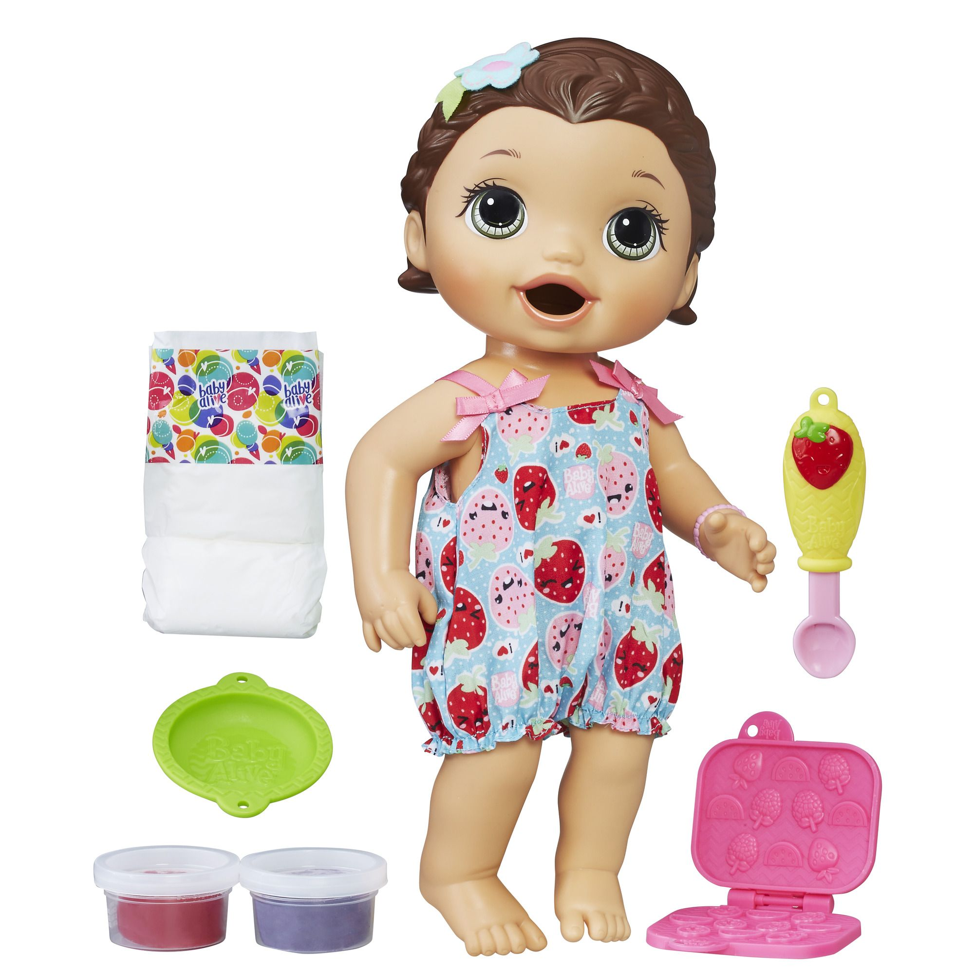 Baby Alive Super Snacks Snackin Lily Brunette Multi Color Baby Alive Baby Alive Dolls Realistic Baby Dolls