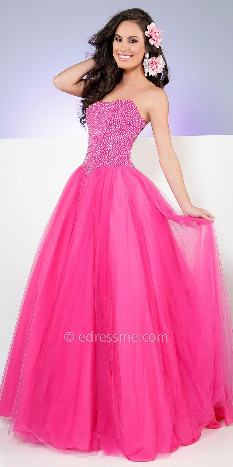 Strapless Rhinestone Tulle Prom Dress by Mon Cheri Le Gala | 15 anos ...