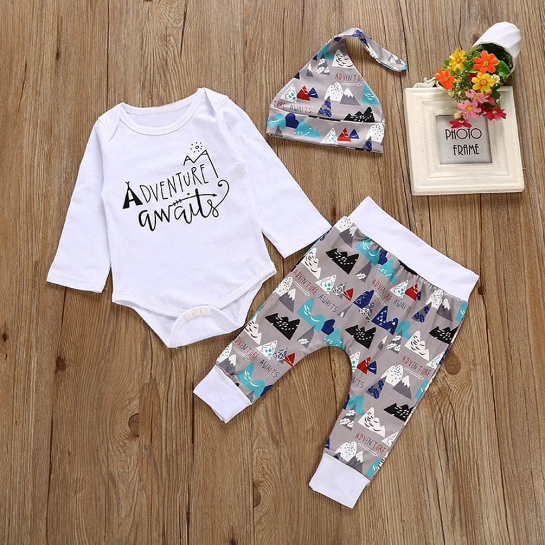 Baby Boy Girl Clothes Set,Newborn Toddler Kids Baby Letter Print Long Sleeves Tops+Pants Outfits