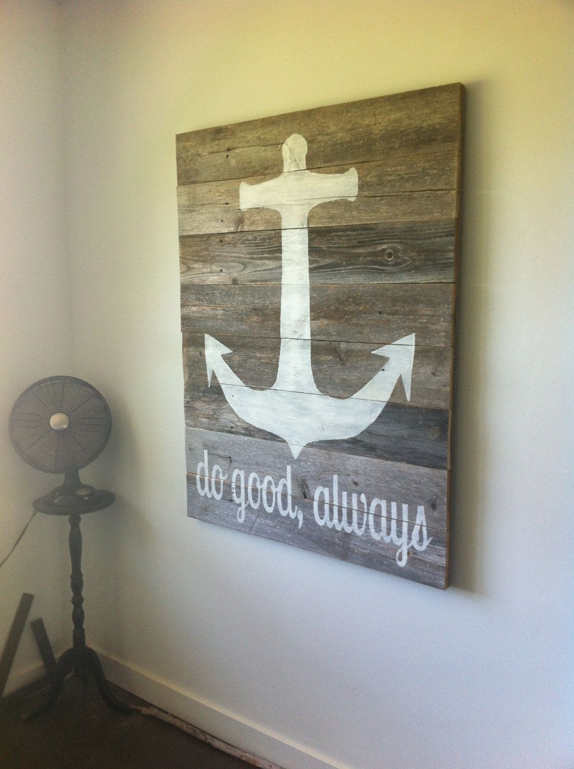 Large Anchor Wall Decor home is where you set your anchor- reclaimed wood sign, nautical