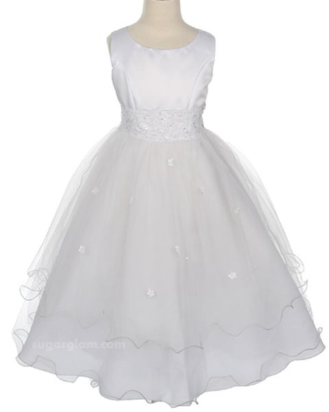 Satin and Tulle Flower Girl Dress in White