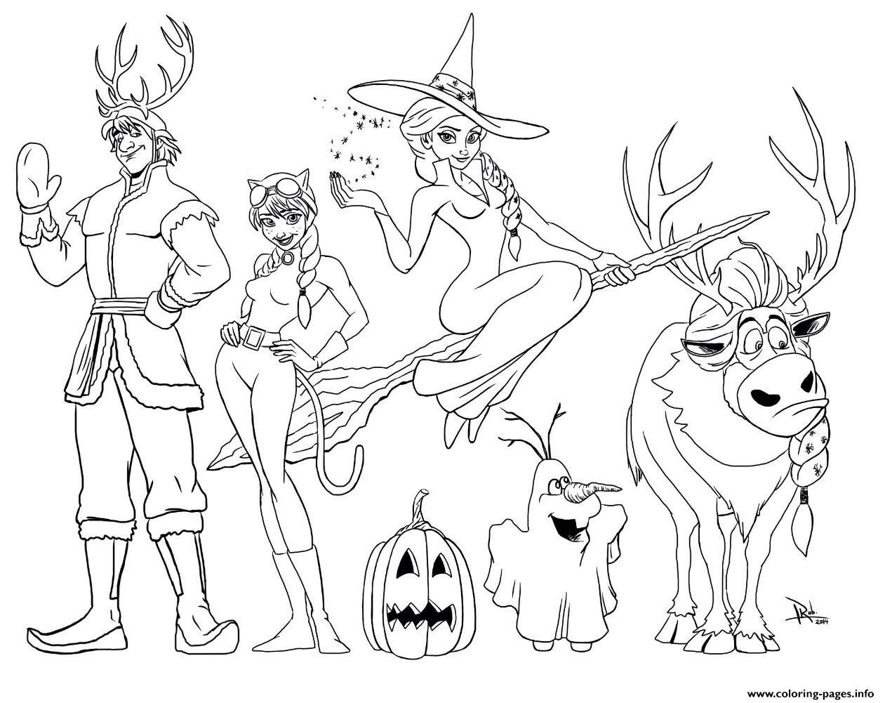 Print Frozen Halloween Coloring Pages