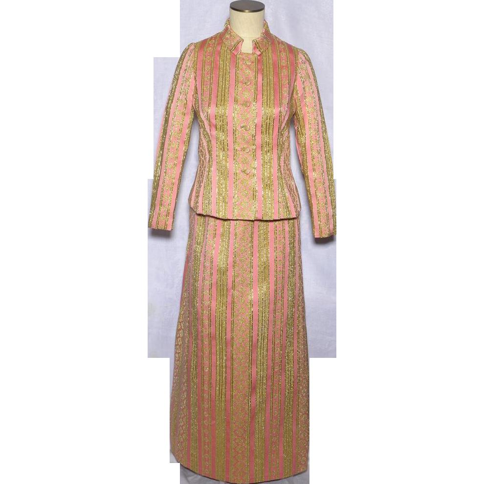 Vintage s saint aubin de paris piece formal dress pink and