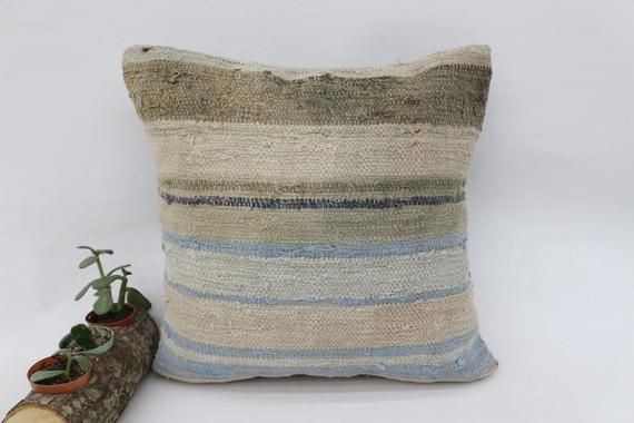 16x16 Home Decor Pillow, Corner Kilim Pillow, Striped Pillow, Beige Pillow, Square Pillow Cover, ant