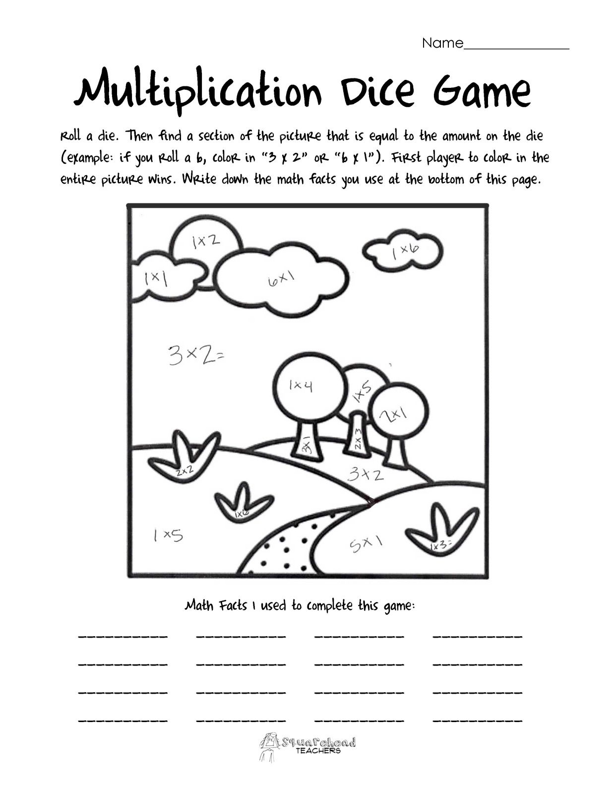 Multiplication Dice Game Landscape With Images
