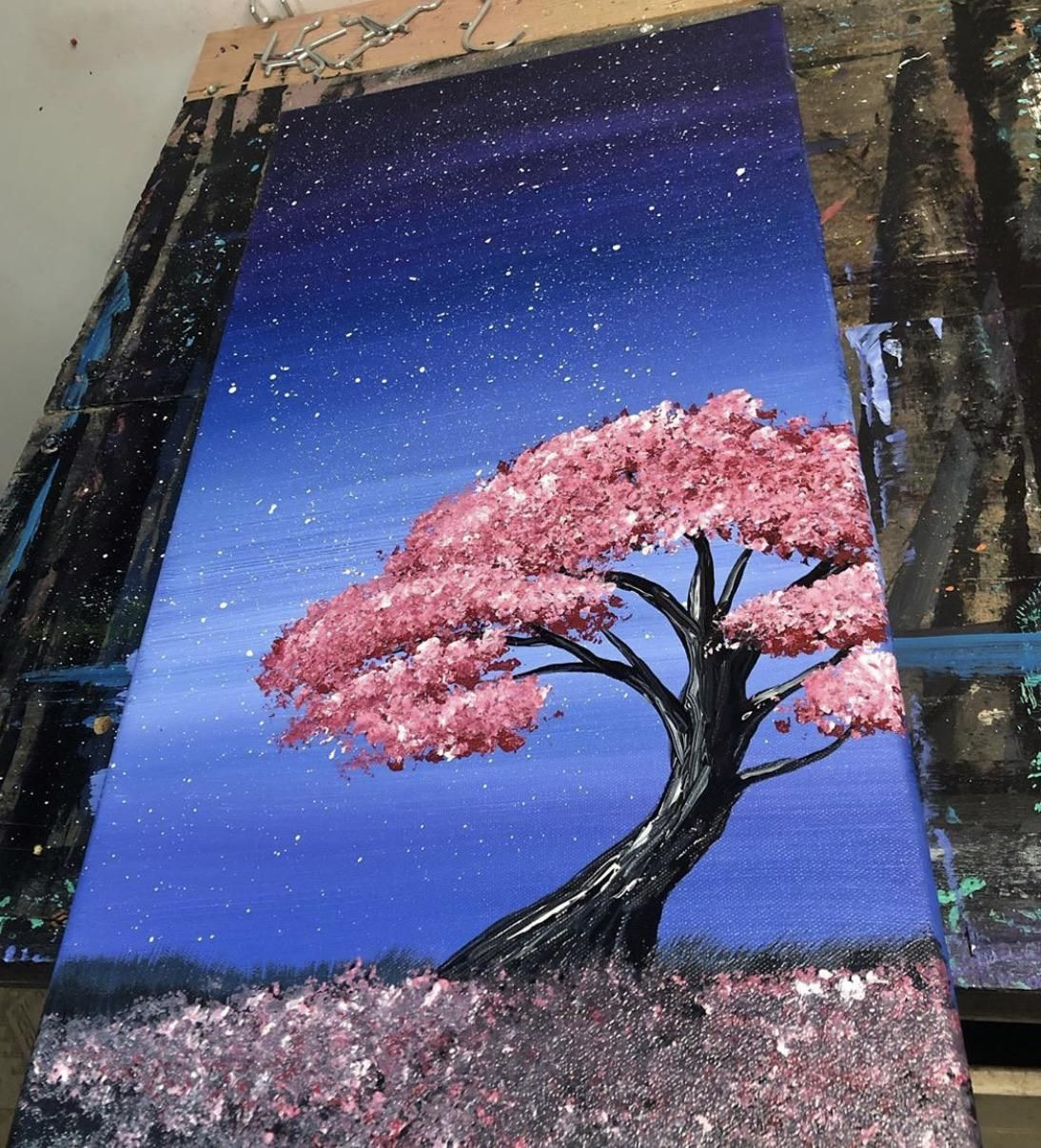Landscape Wall Painting Easy Landscape Paintings For Beginners Step By Step Sakura Painting Cherry Blossom Painting Cherry Blossom Drawing