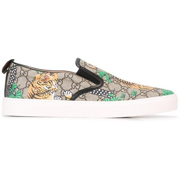 c7d8244e910e Gucci GG Supreme Bengal print slip-on sneakers ( 550) ❤ liked on Polyvore