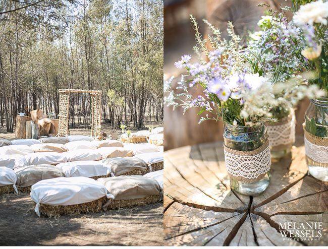wedding with hay bales as seats | Wedding hay bale seating ...