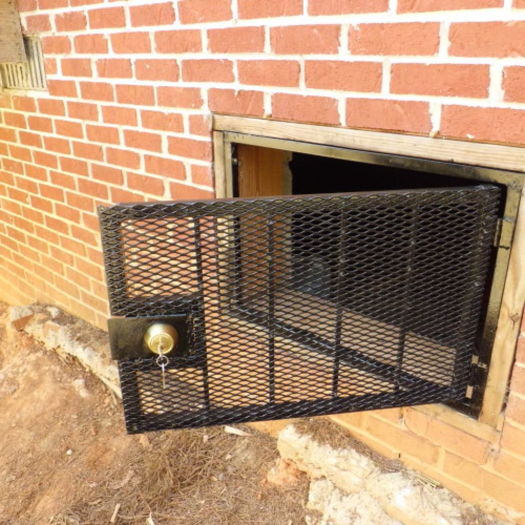 Crawl Space Door With Fenced Door Cover Model And Using Chromed