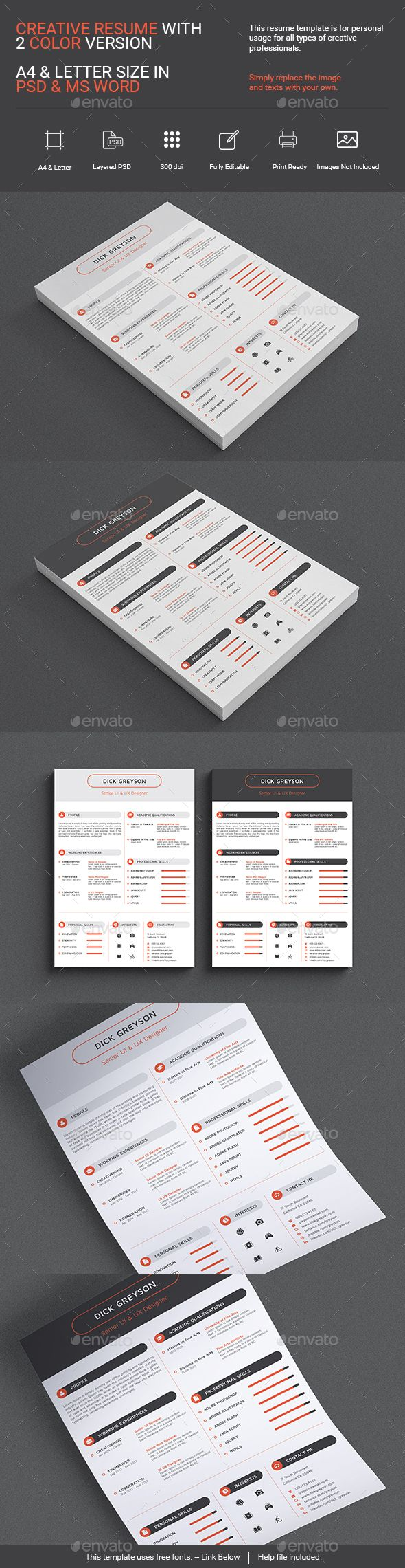 Creative Resume PSD MS Word by VERTEXART This is a Creative