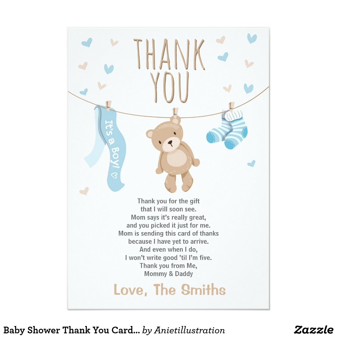Baby Shower Thank You Card Teddy Bear blue ♥ A cute and fun baby shower  thank you card to thank your guests!