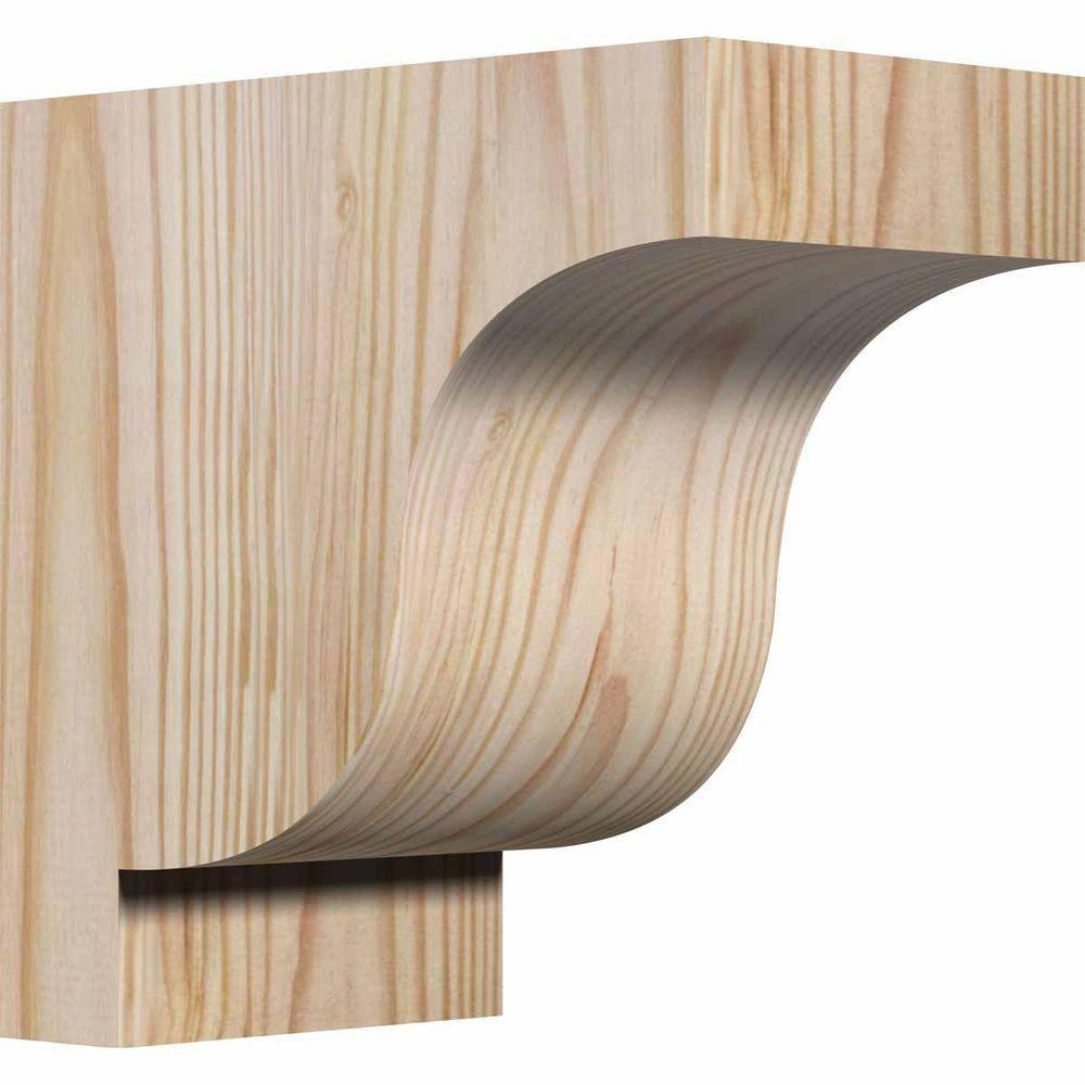 Ekena Millwork 3-1/2 in. x 6 in. x 6 in. Douglas Fir Newport Smooth Corbel