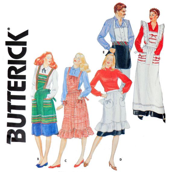 Men\'s and Women\'s Vintage Apron Sewing Pattern - One Size fits All ...