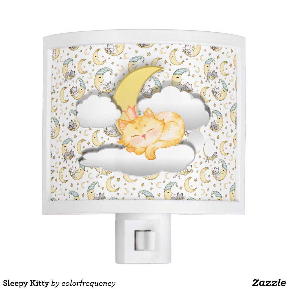 Sleepy Kitty Night Light | Zazzle.com