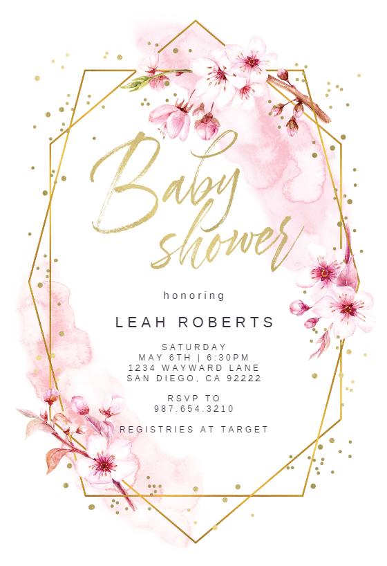 Floral Sakura Baby Shower Invitation Template Greetings Island Floral Baby Shower Invitations Virtual Baby Shower Invitation Baby Shower Invites For Girl