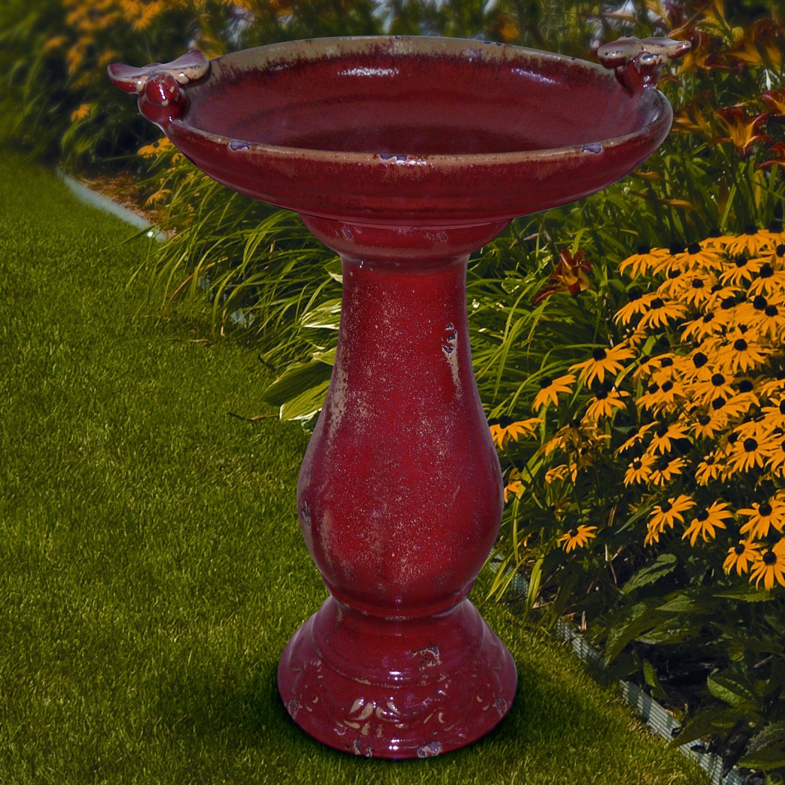 The Corner Of My Front Flower Bed Needs Something Perhaps This Alpine Antique Brick Red Ceramic Bird Bath With 2 Birds 119 99