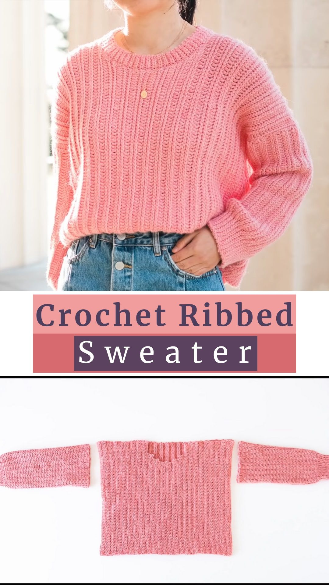 Pink Sweater Crocheting For Free