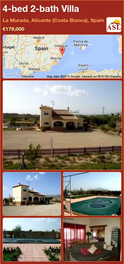 4-bed 2-bath Villa in La Murada, Alicante (Costa Blanca), Spain ►€179,000 #PropertyForSaleInSpain