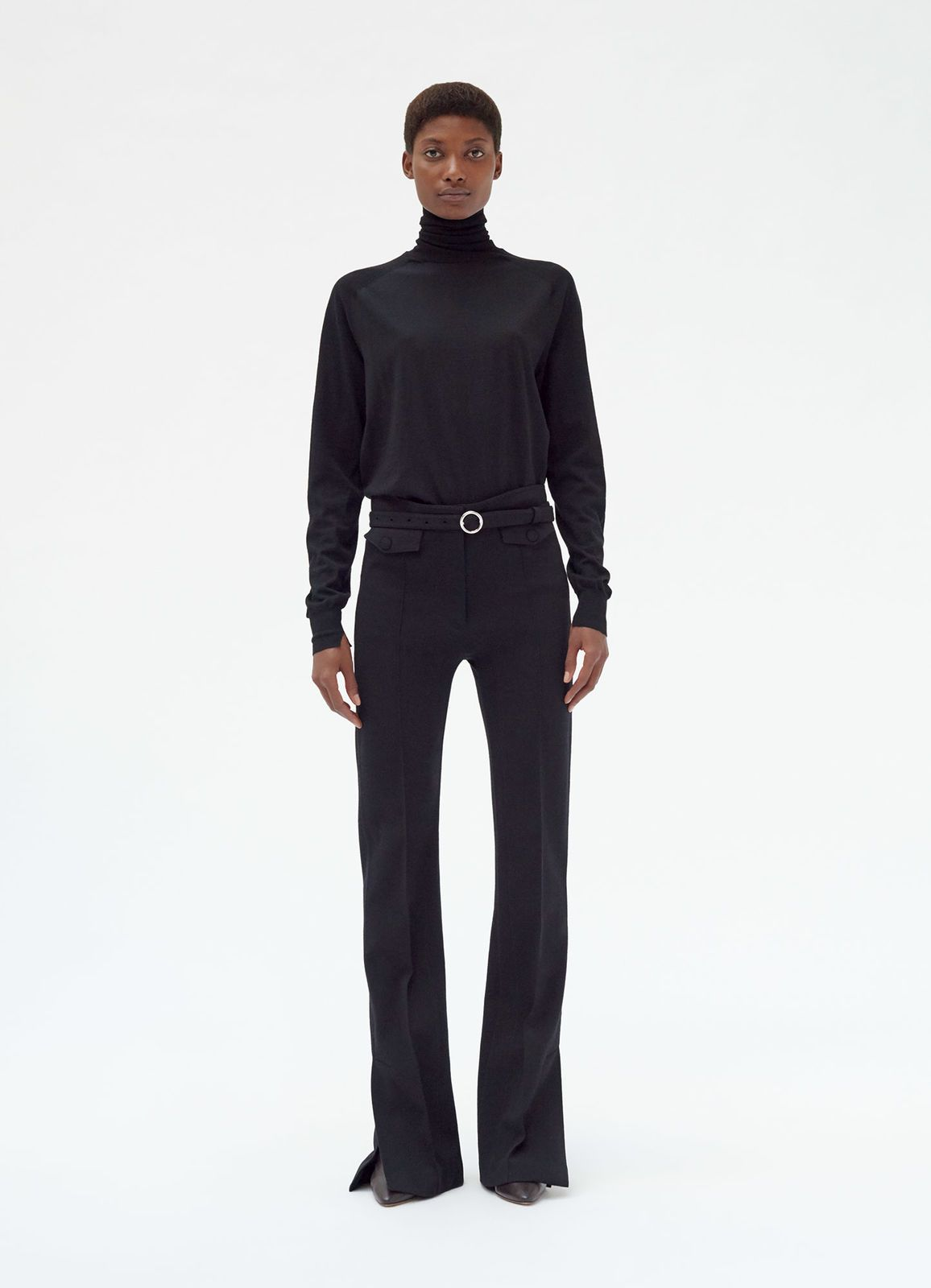 Fitted Trousers In Wool Jersey Celine Jersey Pants Black Fashion Fitted Trousers