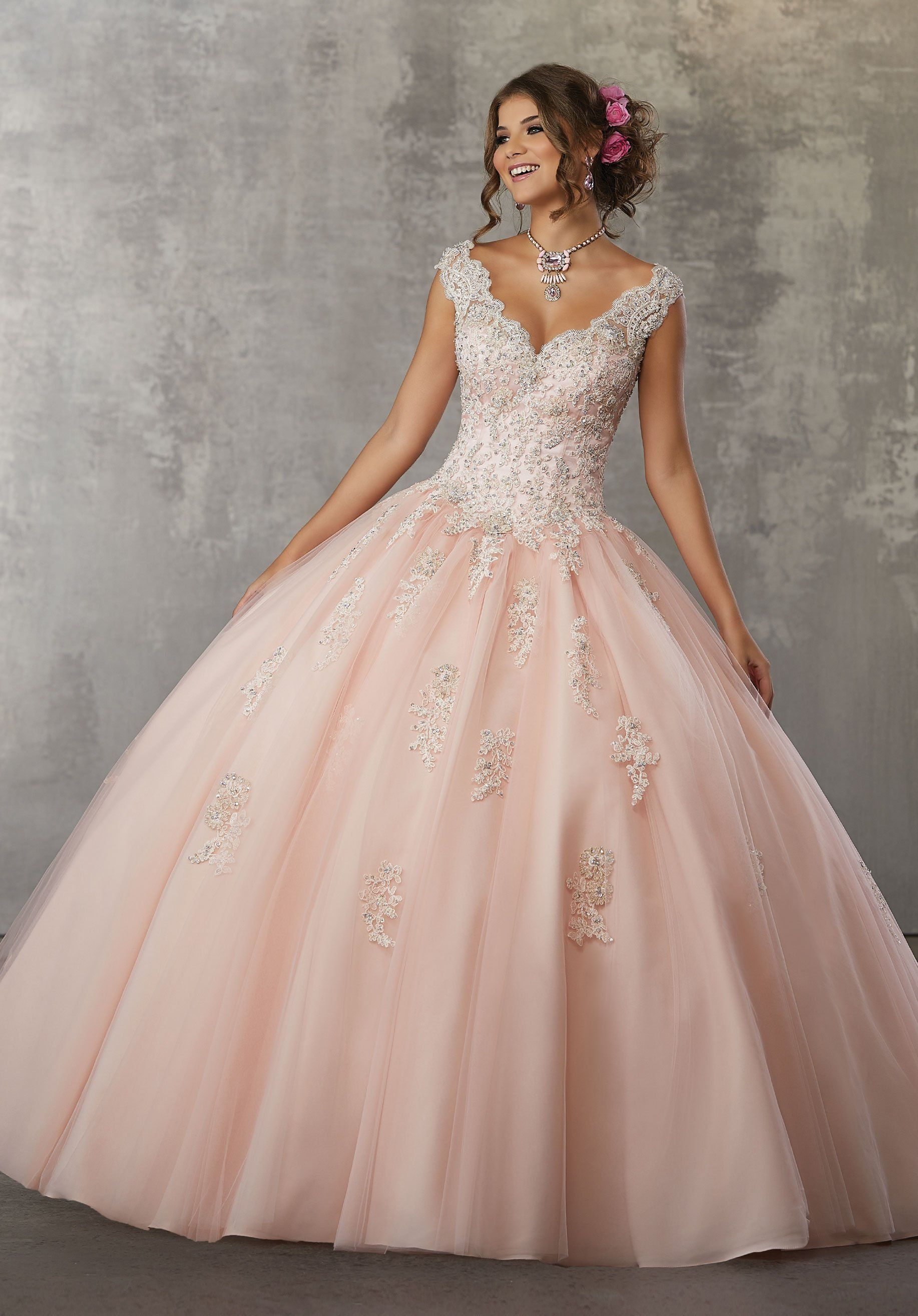 Cap Sleeve Lace Quinceanera Dress by Mori Lee Valencia 60033 ...