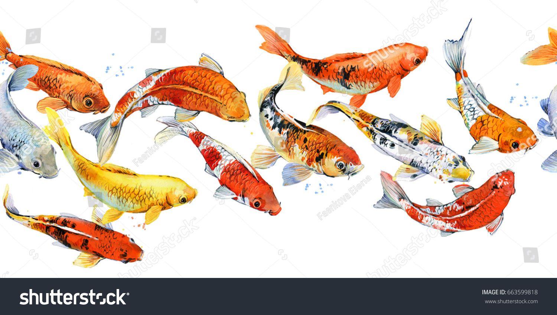 Koi Carp Seamless Pattern Watercolor Fish Illustration Watercolor Fish Fish Illustration Koi Carp