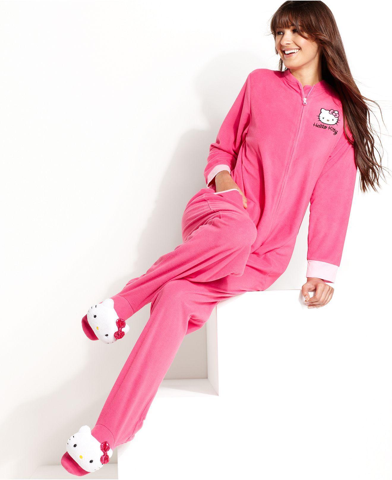 b3f6bc4fd Hello Kitty Pajamas, Bundled Up Footie Pajamas - Womens Lingerie - Macy's