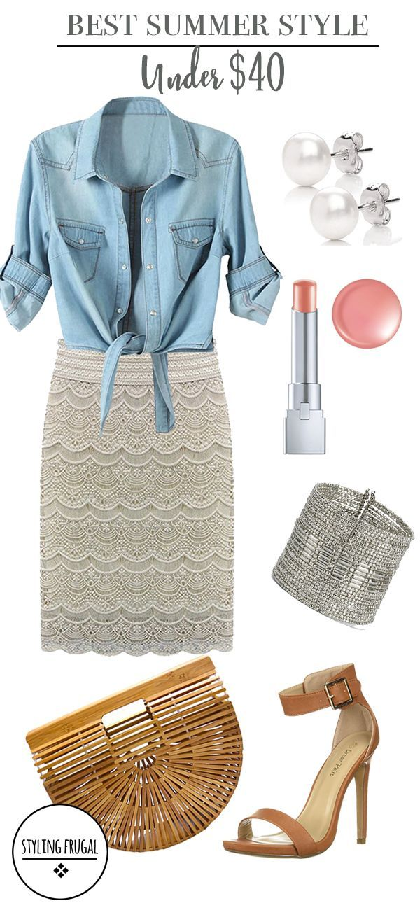 Chambray Shirt and Lace Skirt for Summer! Affordable Summer Outfits for under $40! This look would be perfect for the office too! #summeroutfit #womenoutfits #casualwomenoutfits #chambrayskirt #laceskirt #womenworkoutfits  #denimshirt