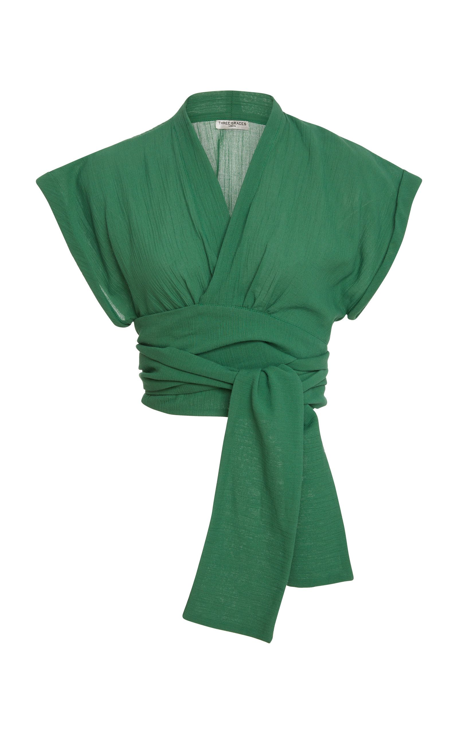 8e9de0ff1d65bc Serena Cotton Wrap Top by THREE GRACES LONDON Now Available on Moda Operandi