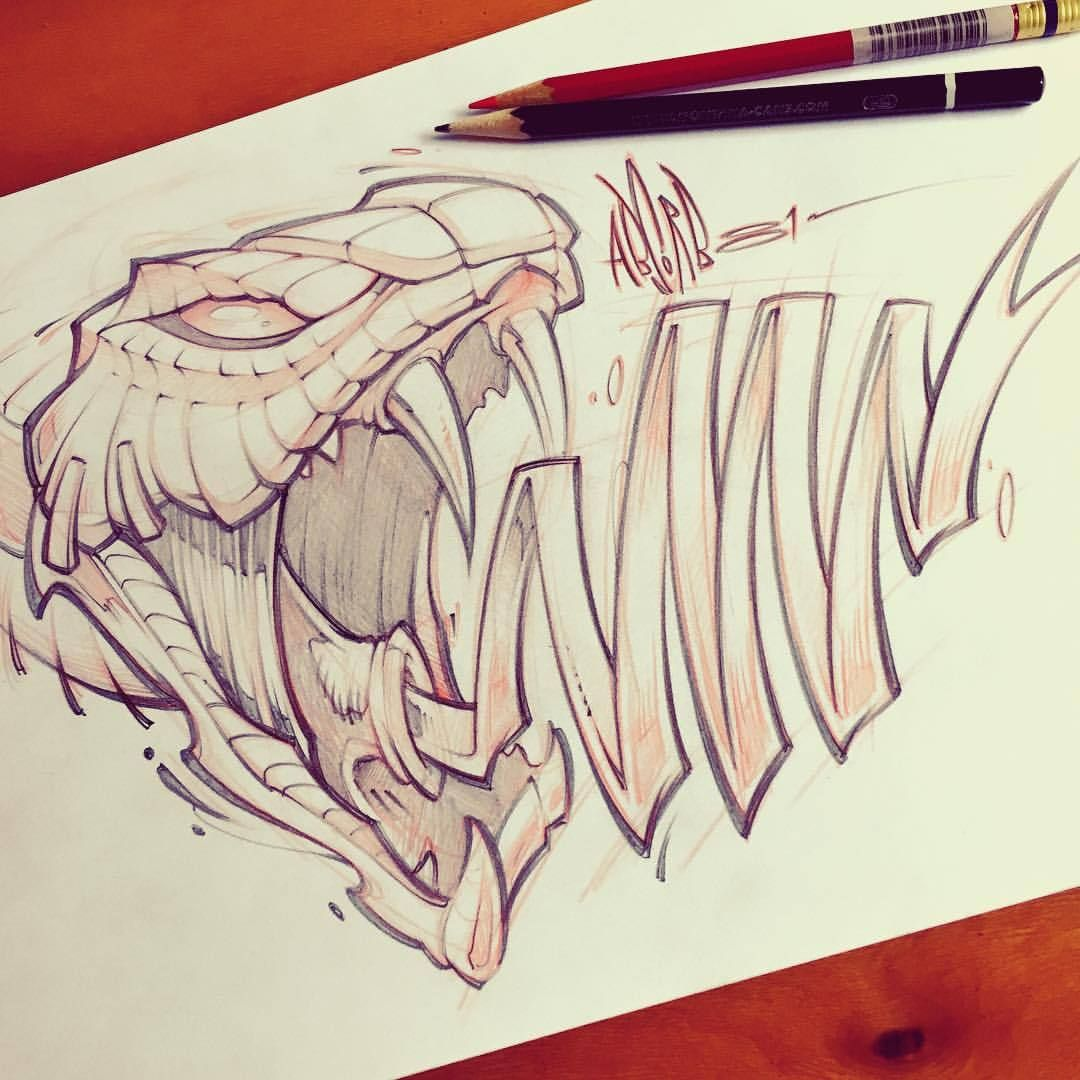 Snake graffiti graphic art absorb81 viper prismacolor pencil illustration drawing