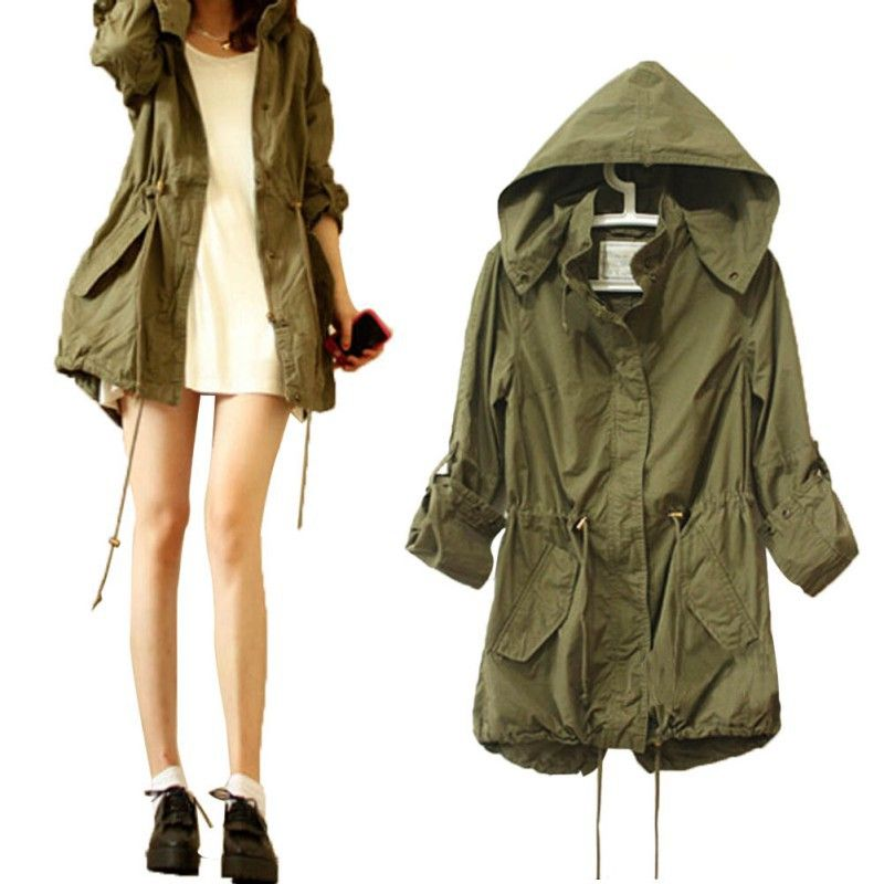 Women Jacket Winter Warm Army Green Military Parka Trench Hooded ...