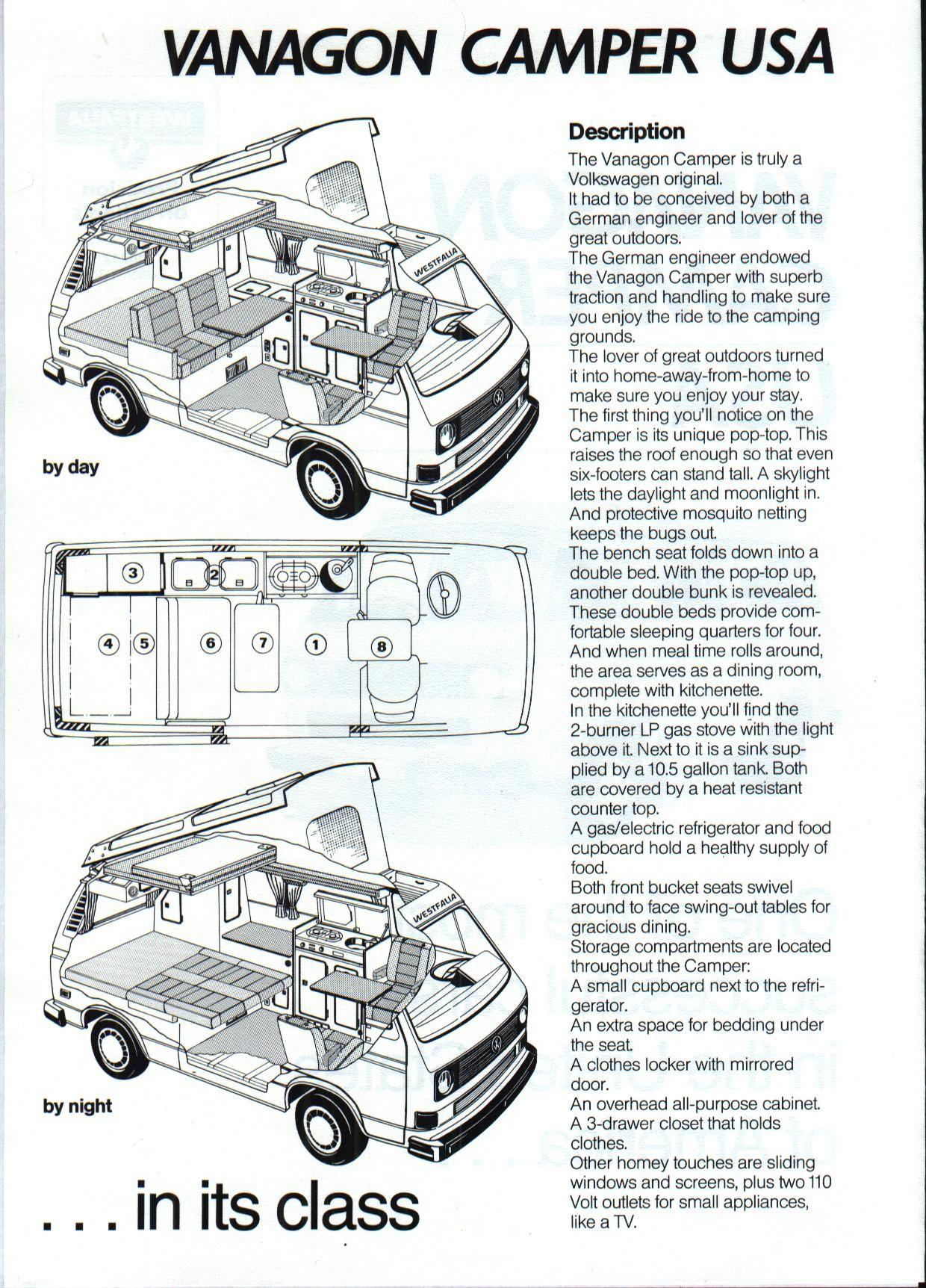vw camper van interior layout