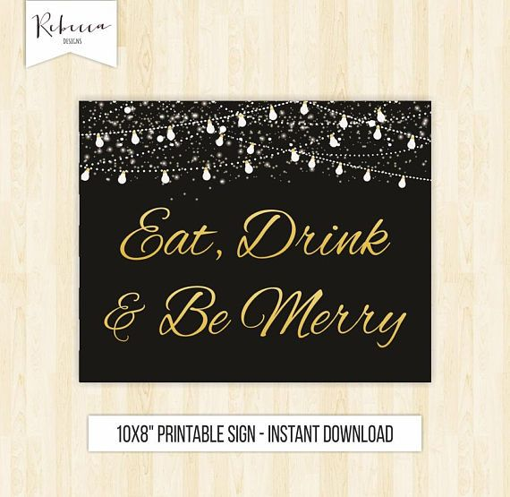 Eat drink and be merry sign printable wedding sign Christmas sign ...
