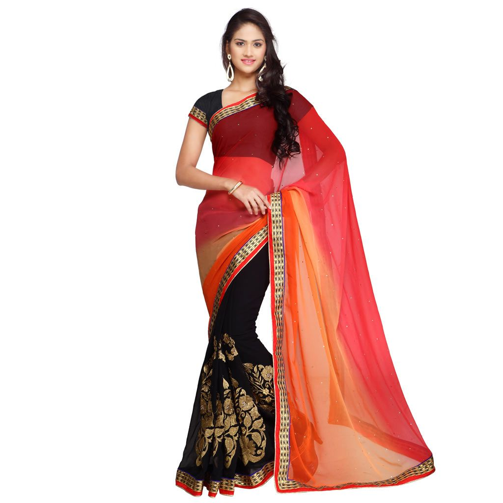 Saree for freshers party in college pink georgette party wear saree   party wear sareenew arrival