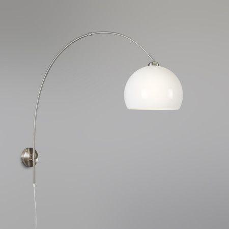 Wandbooglamp staal met bol opaal