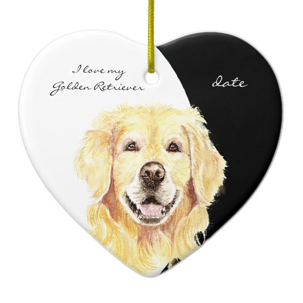 Custom Dated I Love My Golden Retriever Dog Pet Ceramic Ornament