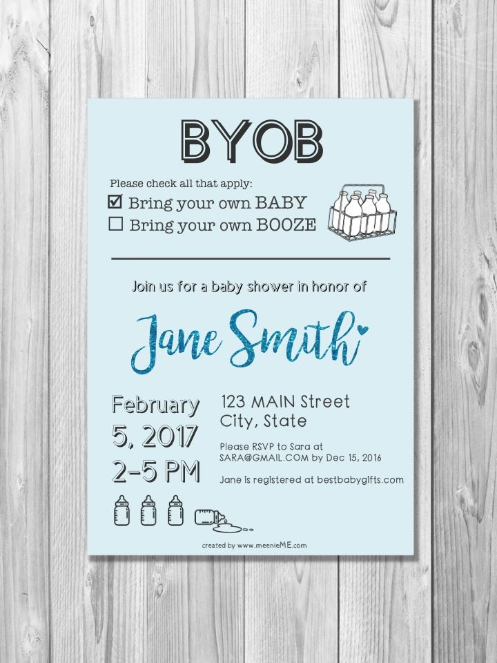 Custom BYOB Sparkle Font Baby Birthday Shower Invitation Printable ...