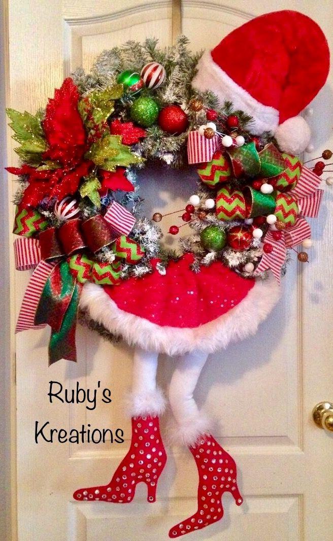 Christmas Wreath Santa Wreath Diva Wreath Christmas Crafts Decorations Christmas Wreaths Holiday Wreaths