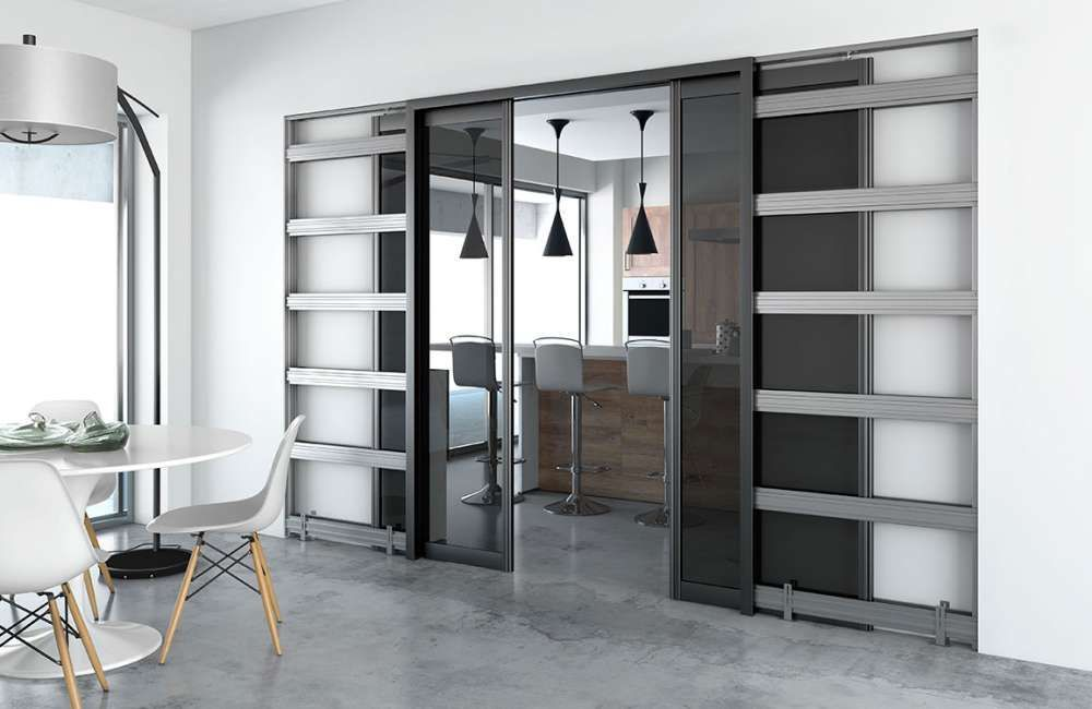 d tail d une porte coulissante avec un ch ssis int gr. Black Bedroom Furniture Sets. Home Design Ideas