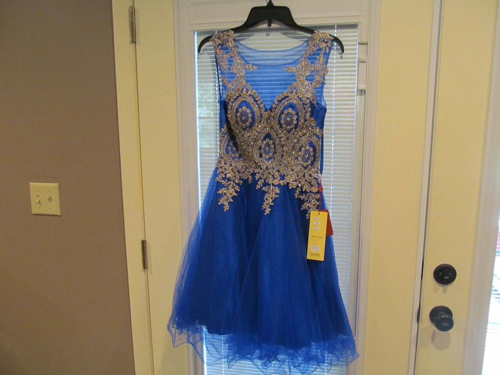 Cool great used royal blue diamante short prom dress from mayqueen