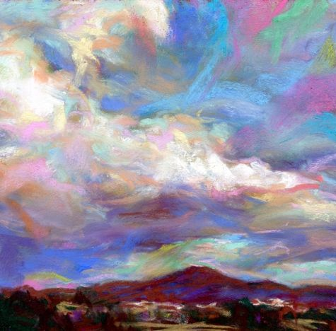 SEARCHING FOR COLOR- 4 1/2 x 4 1/2 sky pastel by