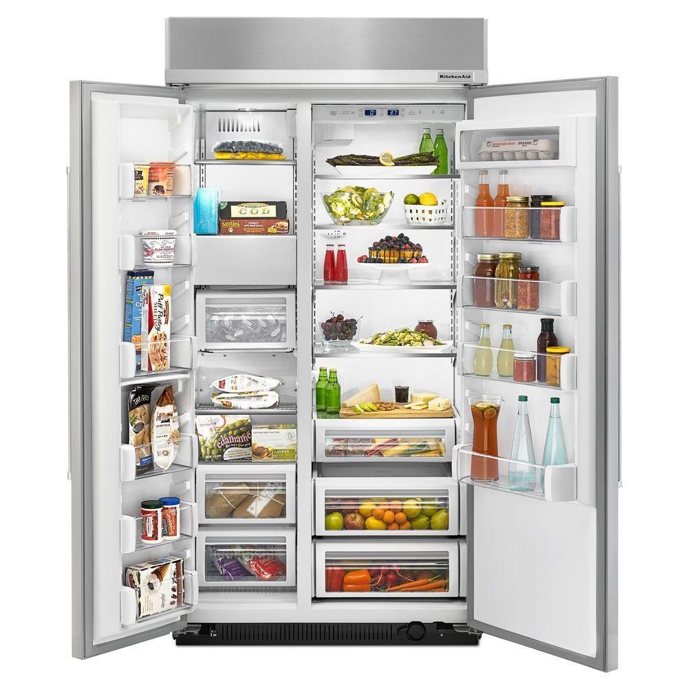 Kitchenaid 25 5 Cu Ft Built In Side By Side Refrigerator In Panel Ready Kbsn602epa The Home Depot Kitchen Aid Side By Side Refrigerator Built In Refrigerator