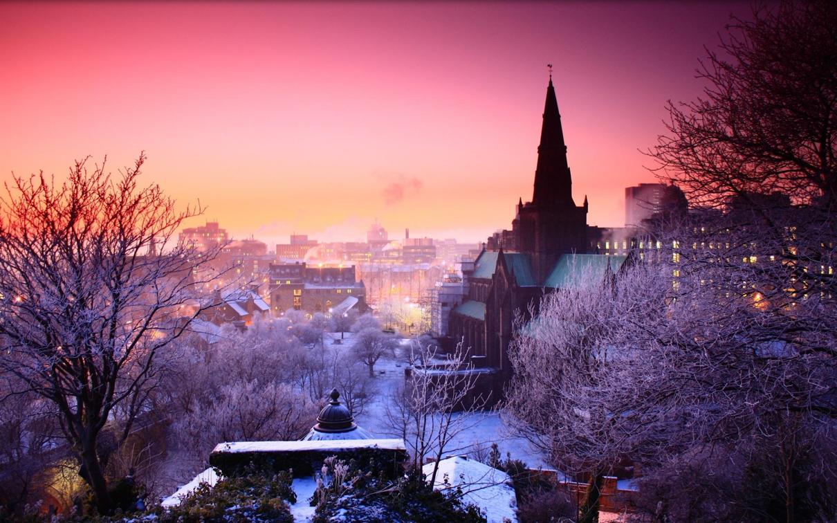 Winter city cold snow Desktop wallpaper Fond d'écran