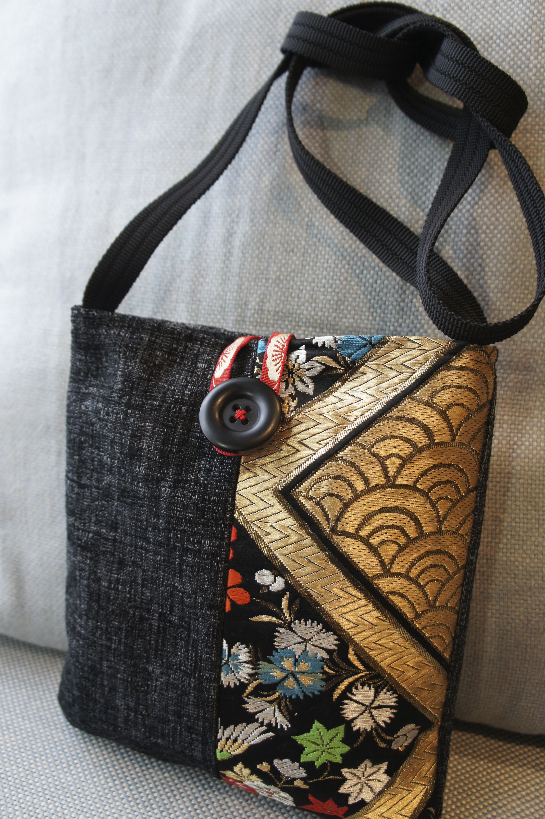 638c23e245c5 Denim and Japanese Obi fabric shoulder bag.