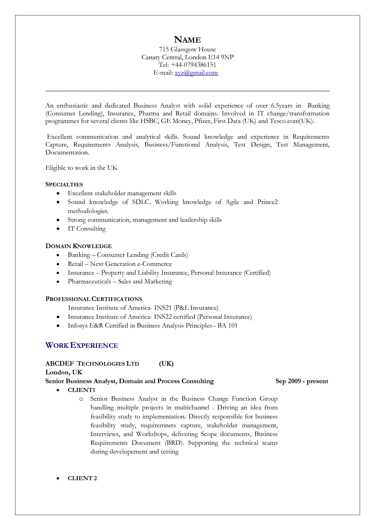 Resume Templates United Kingdom Resume Templates In 2020